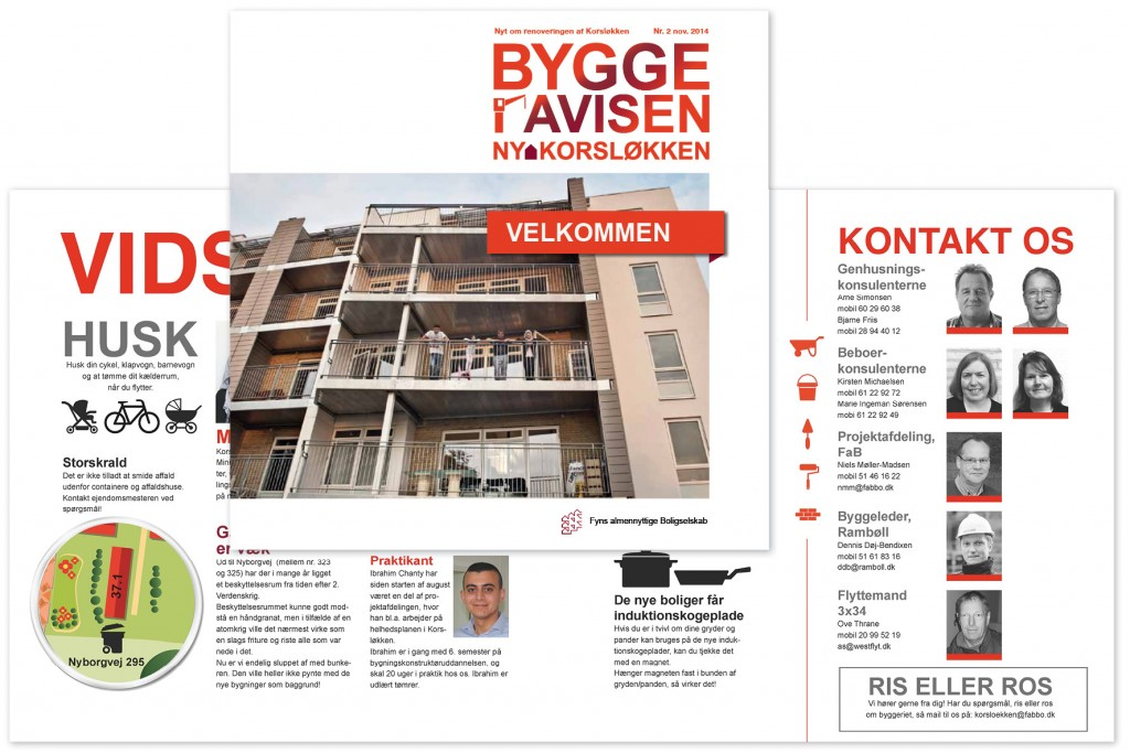 Byggeavis til faB, Odense, layout og illustrationer