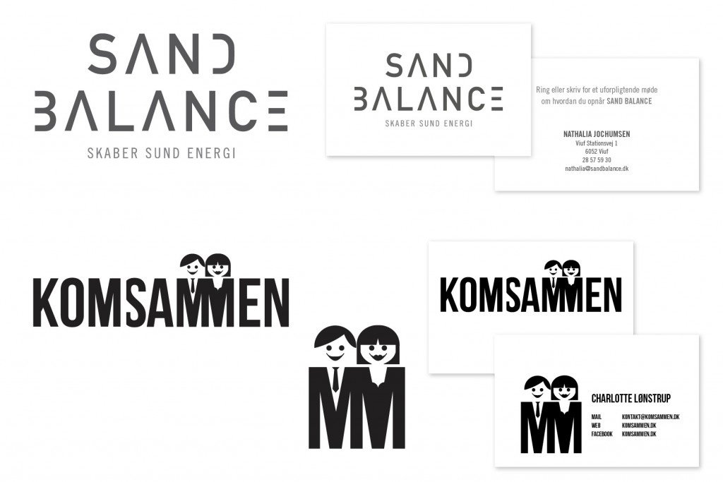 Udvikling af logoer og opsætning af visitkort_Sand Balance og KomSammen