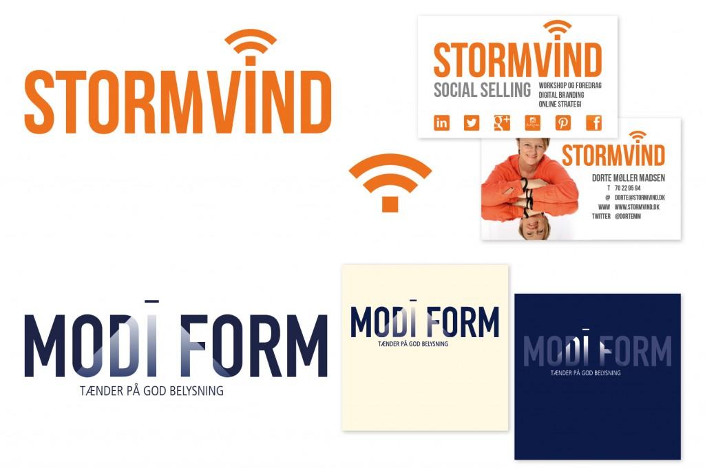 Udvikling af logoer og opsætning af visitkort_Stormvind og Modiform